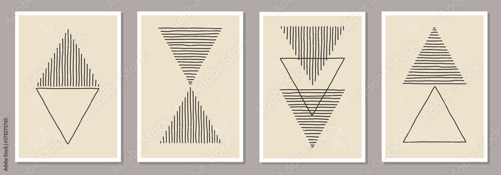Fototapeta Trendy set of abstract creative minimalist artistic hand drawn composition