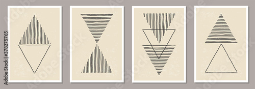 Fototapeta Trendy set of abstract creative minimalist artistic hand drawn composition obraz