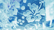 Flower Pattern On The Ice Wall. Winter Ice Background Tint Blue.