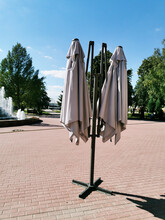 A Covered Umbrella On A Terrac...