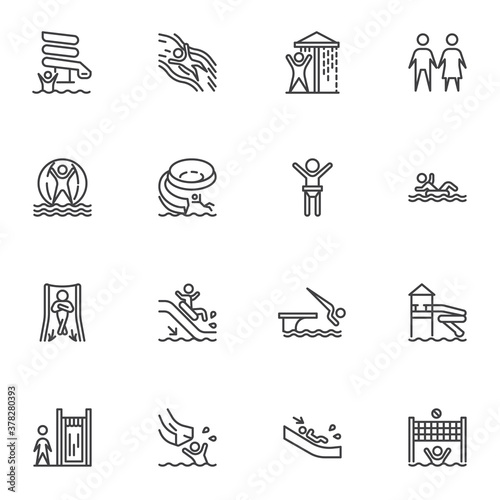 Obraz Aqua park line icons set, water park outline vector symbol collection, linear style pictogram pack. Signs, logo illustration. Set includes icons as water slide attraction, swimming pool, shower - fototapety do salonu