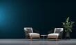 Leinwanddruck Bild - Modern mock up of beautiful living room interior design and blue wall texture background