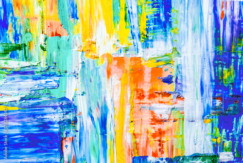 Fototapety, obrazy: colorful smears of paint on canvas