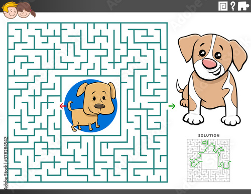 Fototapeta maze educational game with puppy characters obraz