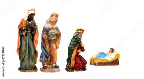 Photo Three Wise Kings and Baby Jesus Ceramic Figurines