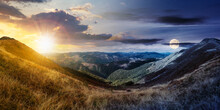 Day And Night Time Change Concept Above Mountain Landscape In Autumn. Dry Colorful Grass On The Hills. Ridge Behind The Distant Valley With Sun And Moon. View From The Top Of A Hill. Clouds On The Sky