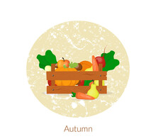 Farmer Wooden Box. Autumn Harv...