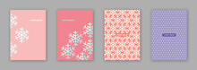 Vector Set Of Four Baby Pink Snowflake Pattern Brochure Cover Design / EPS 10