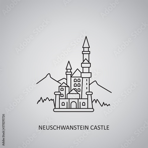 Vászonkép Neuschwanstein castle icon on grey background