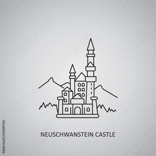 Slika na platnu Neuschwanstein castle icon on grey background