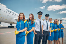 Joyful Airline Workers Or Airc...
