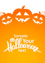 Vertical Design Layout With Handwritten Lettering Of Halloween, Pumpkins And Space For Text.