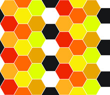 Simple Hexagonal Repeating Pattern In Warm Orange And Gold Colors, Geometric Vector Illustration