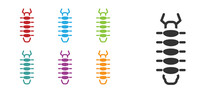 Black Centipede Insect Icon Is...