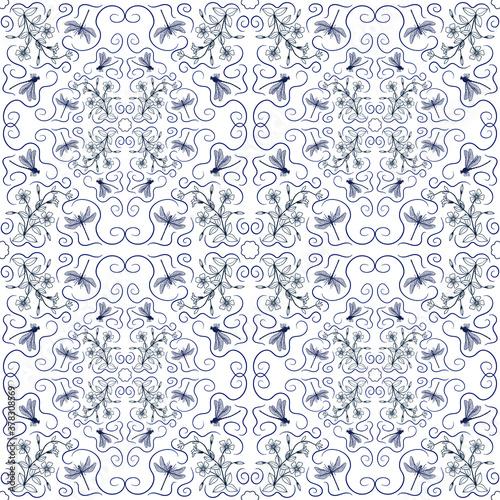 Fototapeta Seamless pattern of dragonflies and periwinkle flowers