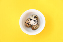 Quail Eggs On White Plate And ...