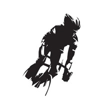 Cycling. Road Cyclist Front View. Abstract Isolated Vector Silhouette
