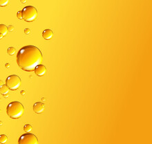 Oil Gold Bubbles Isolated On Yellow Background. Cosmetic Pill Capsule Of Vitamin E, A. Vector Realistic Serum Droplets Of Collagen Essence