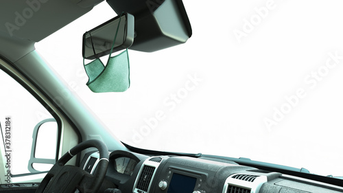 Obraz mask on the rearview mirror inside the car safe passenger transportation concept Taxi 3d render on white background - fototapety do salonu