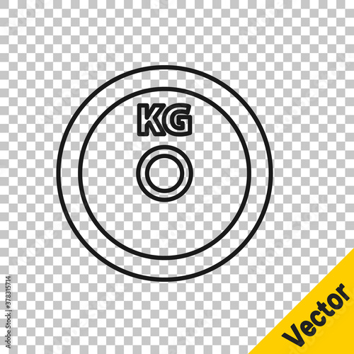 Canvastavla Black line Weight plate icon isolated on transparent background