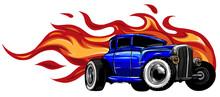Vintage Car, Hot Rod Garage, Hotrods Car,old School Car. Vector