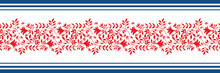 Vector Border With Damask Style Wild Meadow And Striped Edging. Stylized Red Leaves In Horizontal Rows On White Backdrop. Geometric Damask Style Design. Botanical Foliage Illustration For Ribbon, Trim