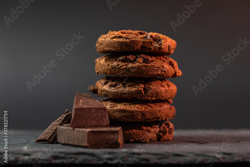 Tablou Canvas A stack of homemade chocolate cookies