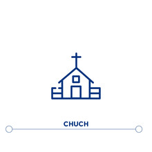 Chuch Outline Vector Icon. Simple Element Illustration. Chuch Outline Icon From Editable Buildings Concept. Can Be Used For Web And Mobile