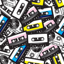 A Set Of Different Audio Cassettes. Seamless Background In Retro Style. Colored Vector Illustration