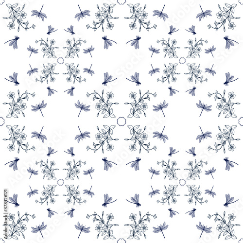 Obraz na plátně Seamless pattern of dragonflies and periwinkle flowers