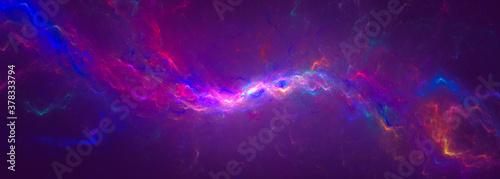 Obraz Abstract colorful fractal lightning wave banner, background. 3D rendering - fototapety do salonu