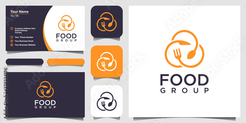 Vászonkép food logo design with the concept of a pin icon combined with a fork, knife and spoon