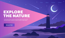 Explore Nature Poster Web Page Template With Lighthouse At Night With Crescent Moon In A Starry Sky Ad Bright Shining Beam, Colored Vector Illustration