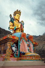 Maitreya Buddha Statue Near The Diskit Gompa (Diskit Monastery) In The Nubra Valley Of Ladakh, Northern India.