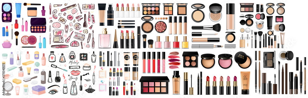 Fototapeta Big set of different realistic packages for decorative cosmetics. Blank template of containers for eye shadow, lipstick, powder, nail polish and mascara. Vector illustration isolated on background