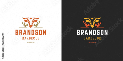 Valokuvatapetti Barbecue logo vector illustration grill steak house or bbq restaurant menu emble