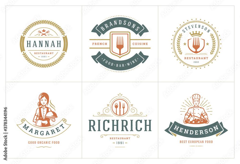 Fototapeta Restaurant logos templates set vector illustration good for menu labels and cafe badges