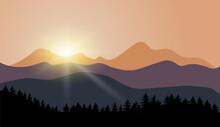 Sunset In Mountains Vector Landscape Illustration.