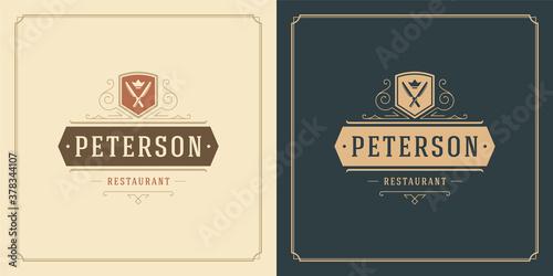 Restaurant logo design vector illustration knifes silhouettes good for restauran Fototapet