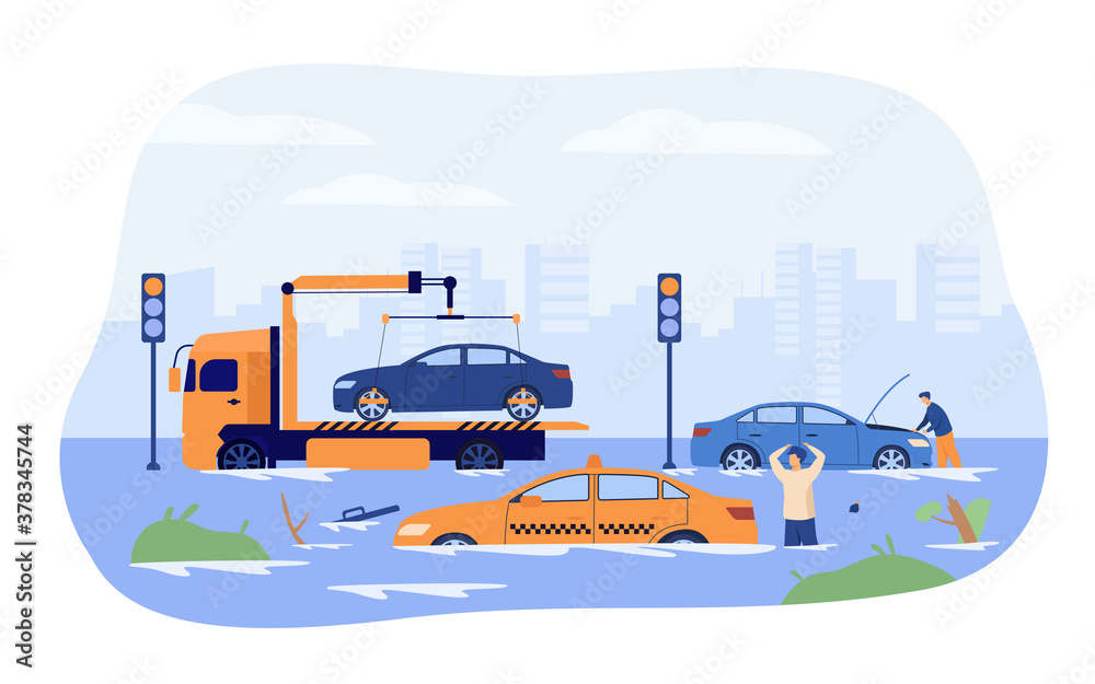 Fototapeta Water flood on city roads. Drivers and tow truck saving damaged cars from heavy rain and storm. Vector illustration for rainfall season, rain period, natural disaster concept