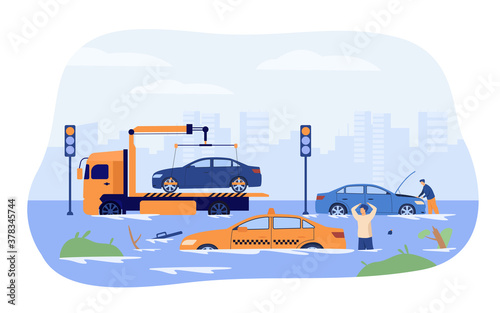 Water flood on city roads Canvas-taulu