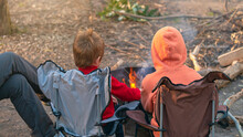 Kids Burning Campfire In The Forest Camping Grounds During Winter School Holidays, Kuitpo, South Australia
