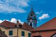 canvas print picture - Häuser und blauer Turm in Dürnstein an der Donau
