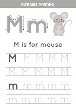 M Is For Mouse. Tracing English Alphabet Worksheet.