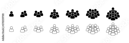 Obraz People. People icons in modern simple flat and lines design. People black vector icon, isolated. Persons for web design, app and ui. Vector illustration - fototapety do salonu