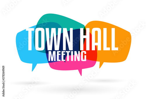 Fotomural Town hall meeting on speech bubble