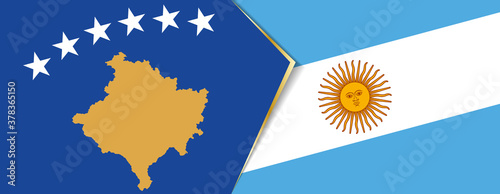 Fotomural Kosovo and Argentina flags, two vector flags.