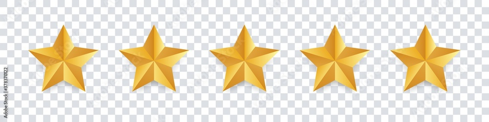 Fototapeta Star icon. Vector golden isolated five stars. Customer feedback concept. Vector 5 stars rating review. Quality shape design. - obraz na płótnie