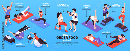 Home Fitness Isometric Infographics Canvas