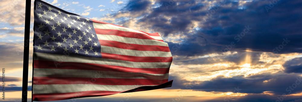 USA flag, US of America sign symbol, sunset sky background. 3d illustration